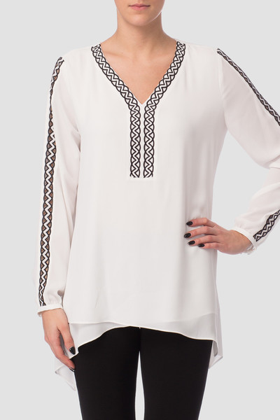 J R shoulder top black and white silky
