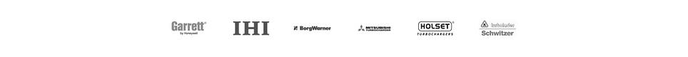 Loga producentów turbosprężarek: Garrett, IHI, BorgWarner (KKK), Mitsubishi, Holset, Schwitzer