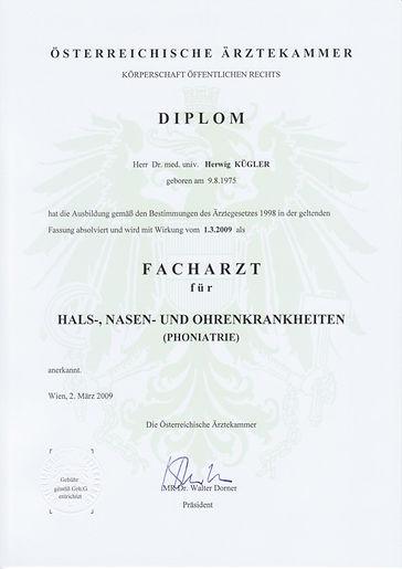 Phoniatrie, Diplom, HNO, Logopädie,