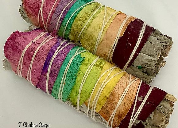 7 colors Chakra Sage w/Rose Petals