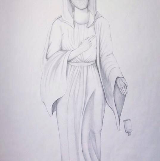 The Corona Madonna, pencil on cartridge (large scale), 2020