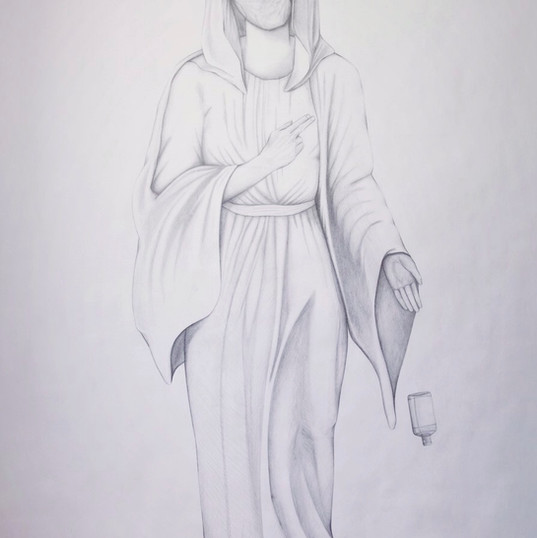 The Corona Madonna, pencil on cartridge (large scale), 2020