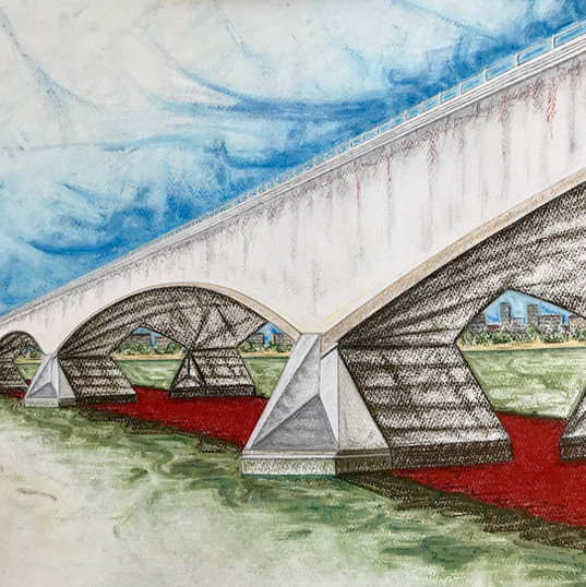 Untitled 1 (Bridge Series), pastel on paper, 2019