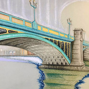 Southwark Bridge - pastel on paper