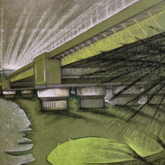 Cannon Street Bridge - pastel on paper