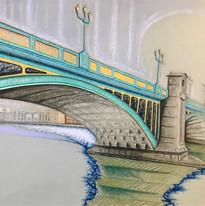 Untitled (Bridge Series), pastel on paper, 2021