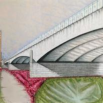 Untitled (Bridge Series), pastel on paper, 2020
