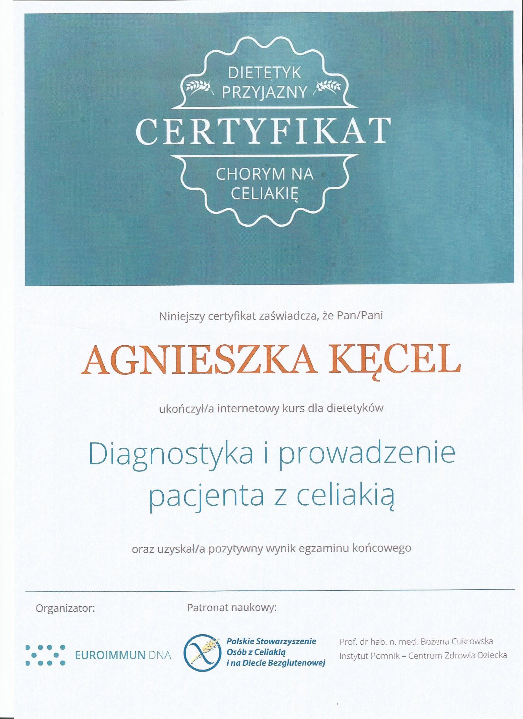 celiakia certyfikat