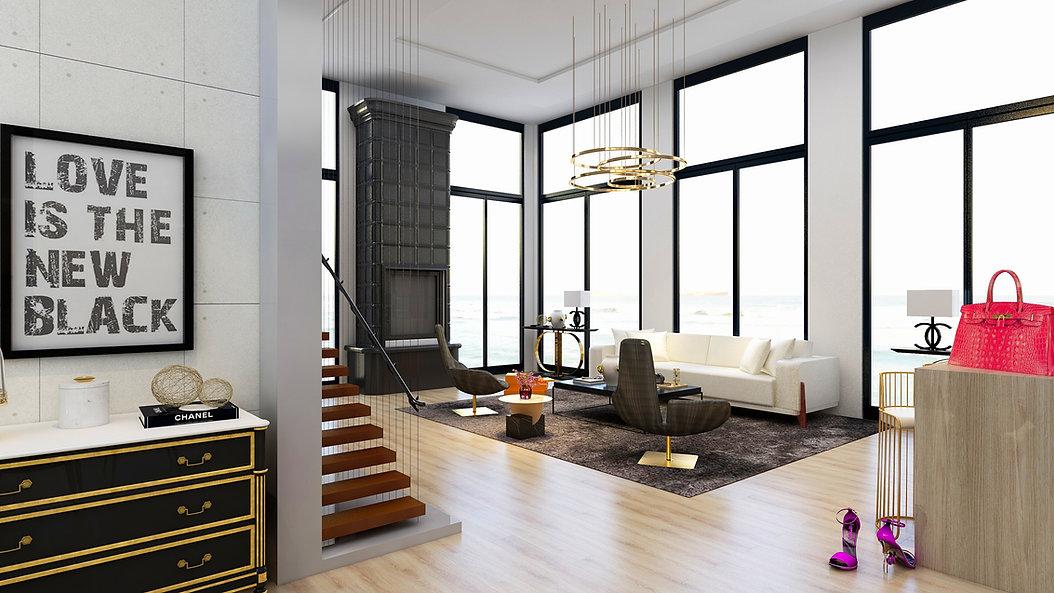 Living Room - Coastal View - Grey Chairs