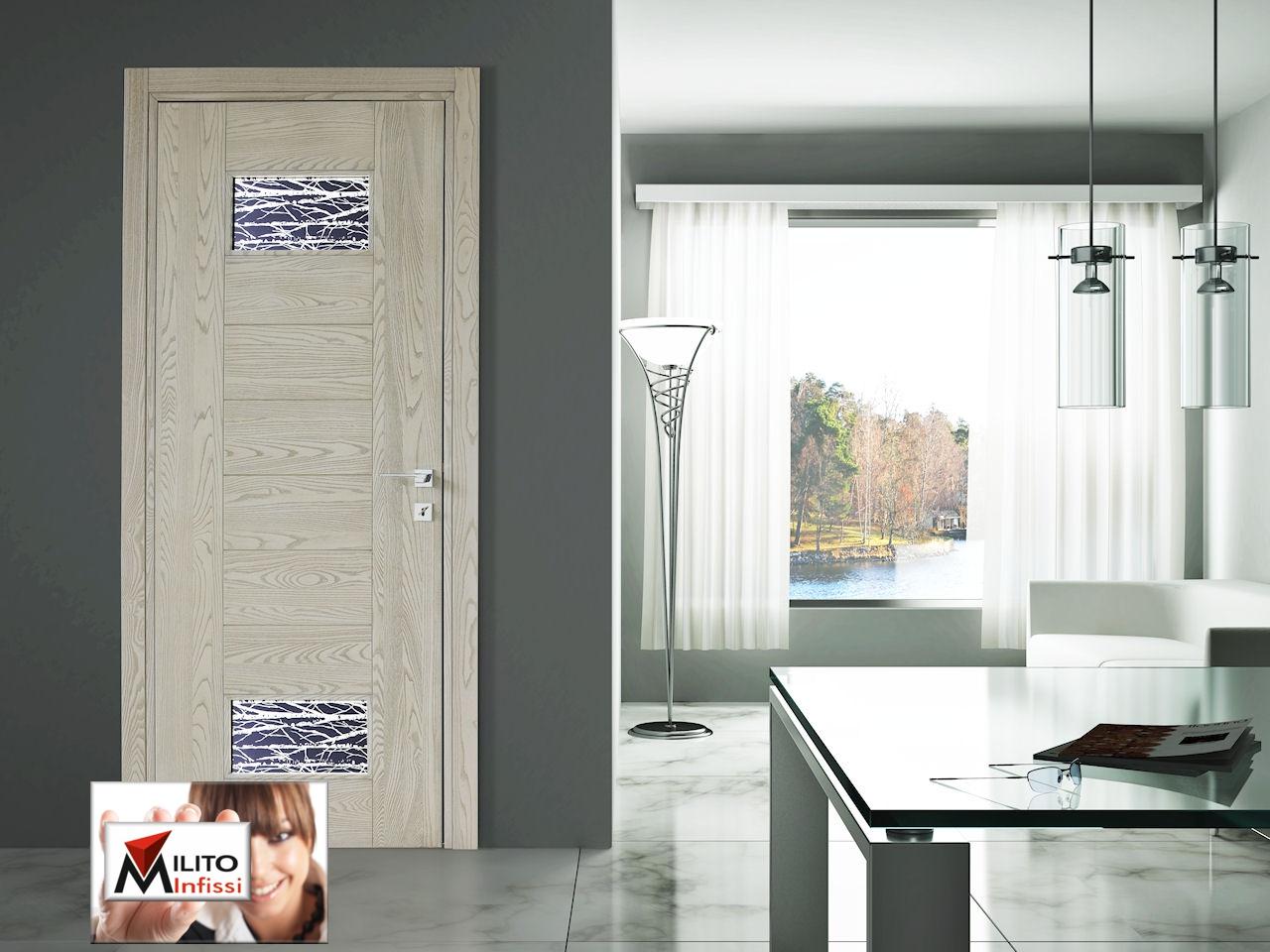 porta interna legno modello 69 con vetro tipo a