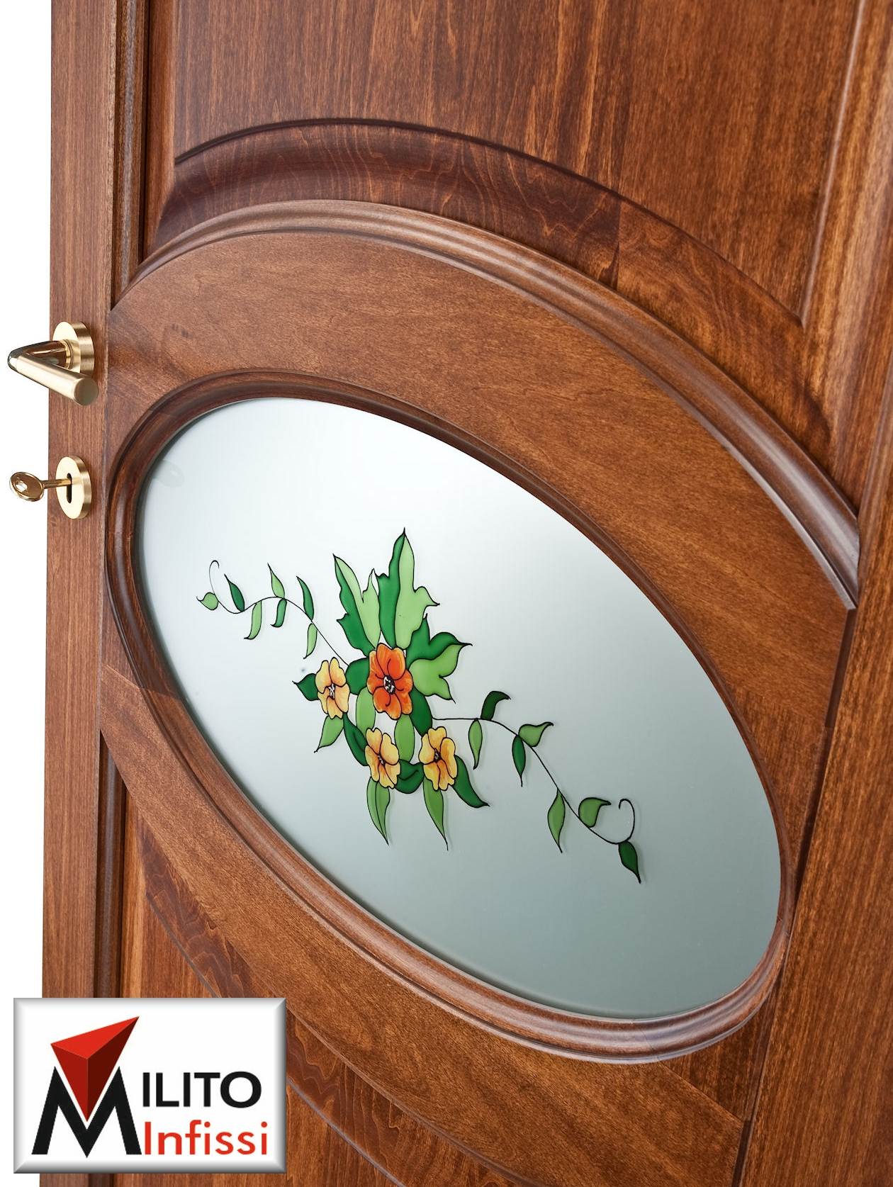 porta interna in legno massiccio con vetro decorato