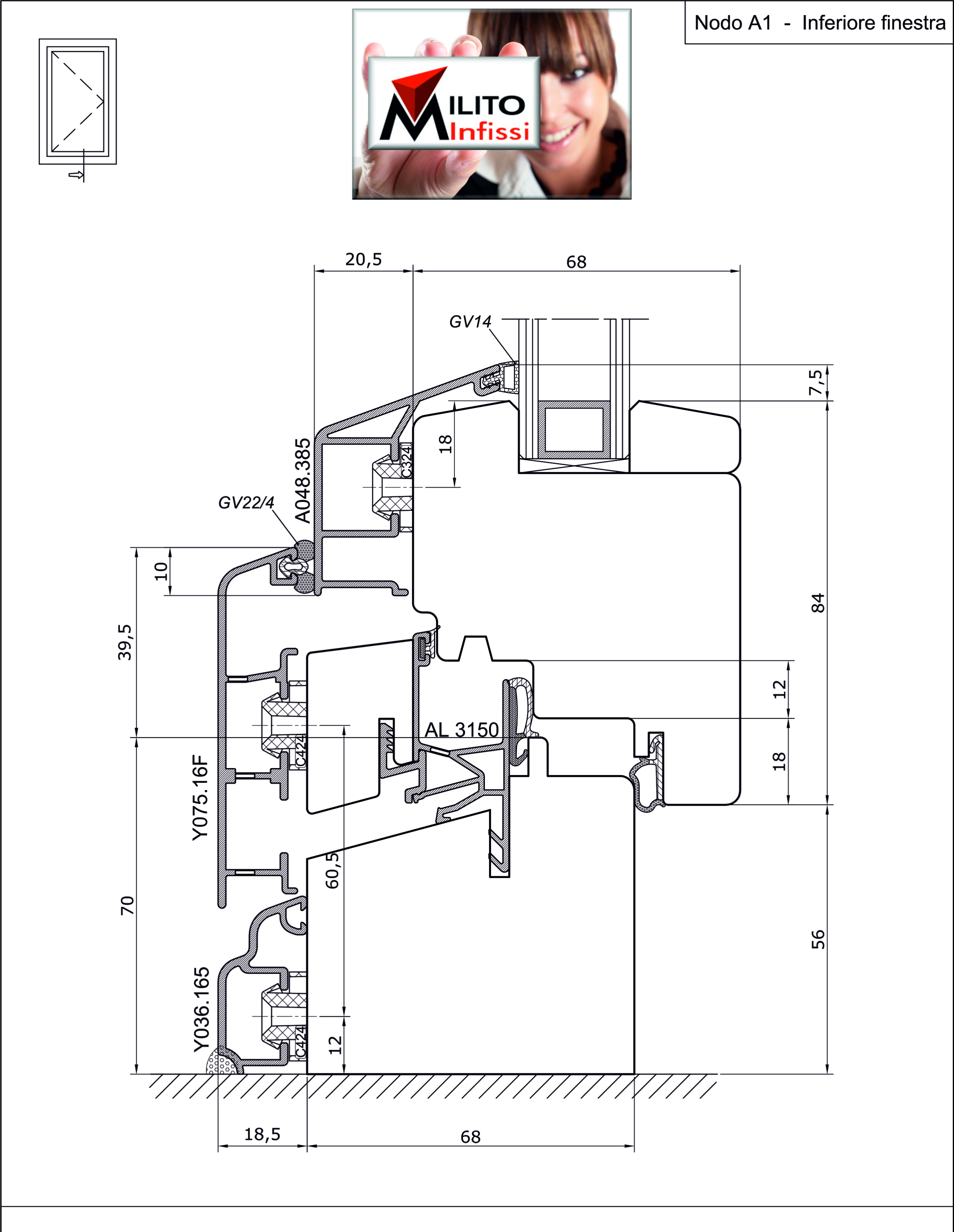 Nodo inferiore Fv Legno-Alluminio