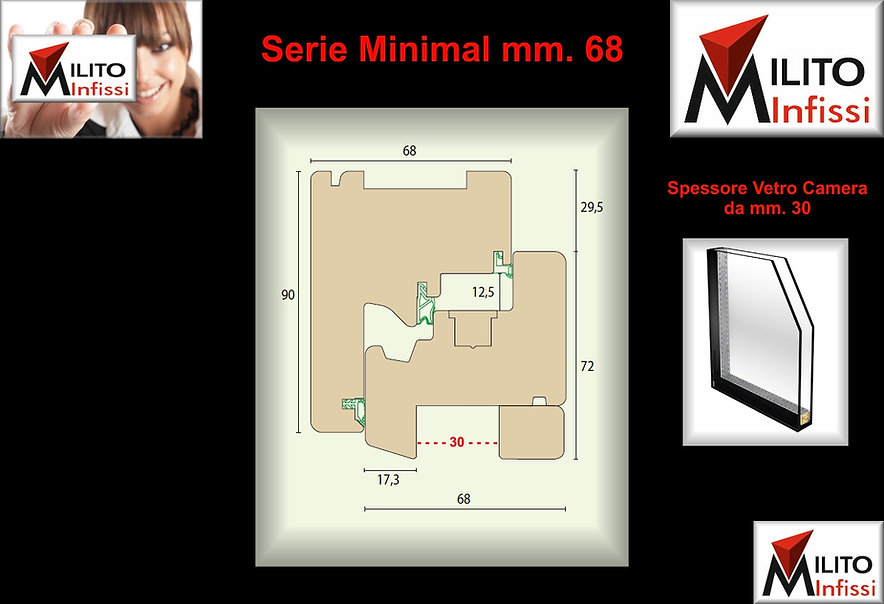 Serie Minimal 68 serramento,infissi ,finestre tutto vetro