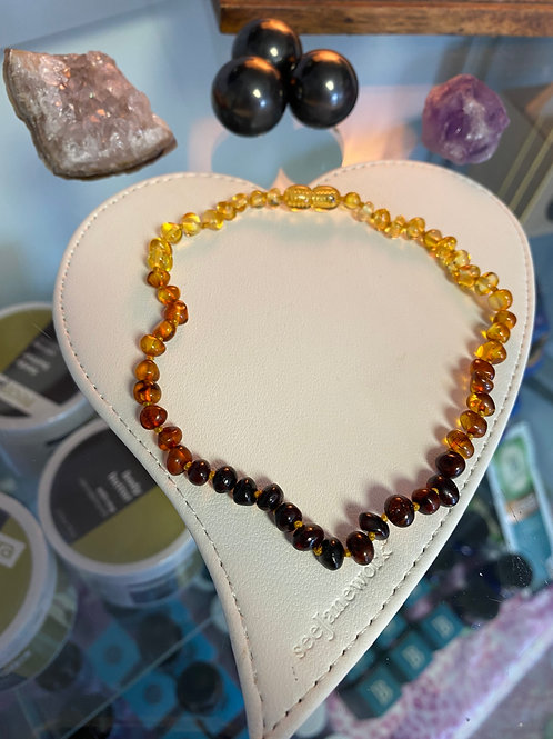 Tumbled Ombre Baltic Amber Teething Necklace