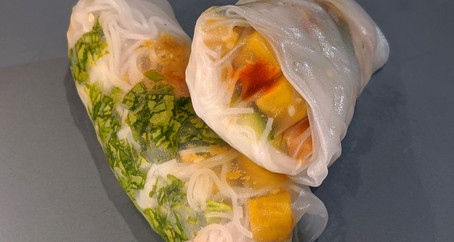 Garlic/Ginger Chickpea Tofu Rice Paper Rolls (Gluten-Free/Vegan)