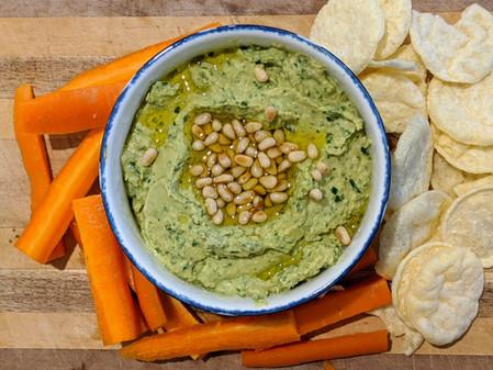Vegan Pesto Hummus (Gluten Free/Vegan/No Sugar)