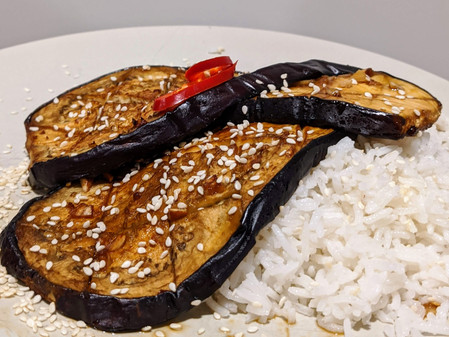Sweet and Spicy Eggplant (Gluten Free/Vegan)