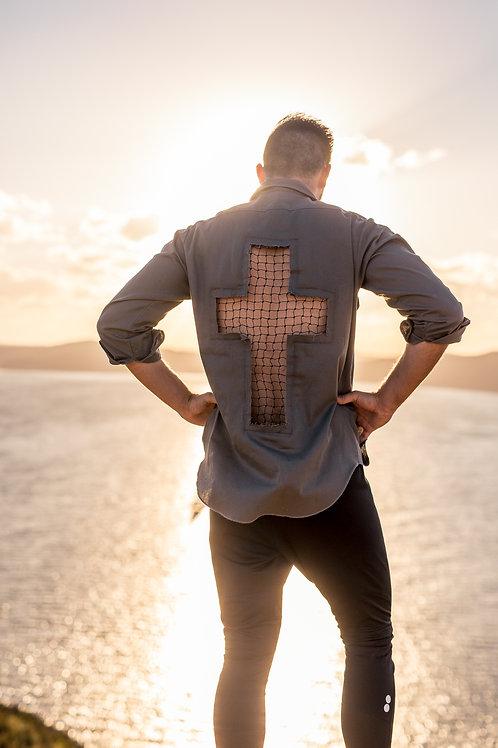 Mesh Cross Button Up Shirt