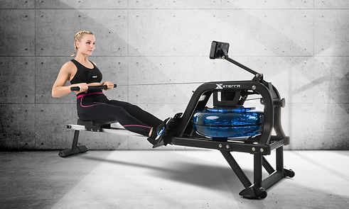 A rowing girl on xterra water rower