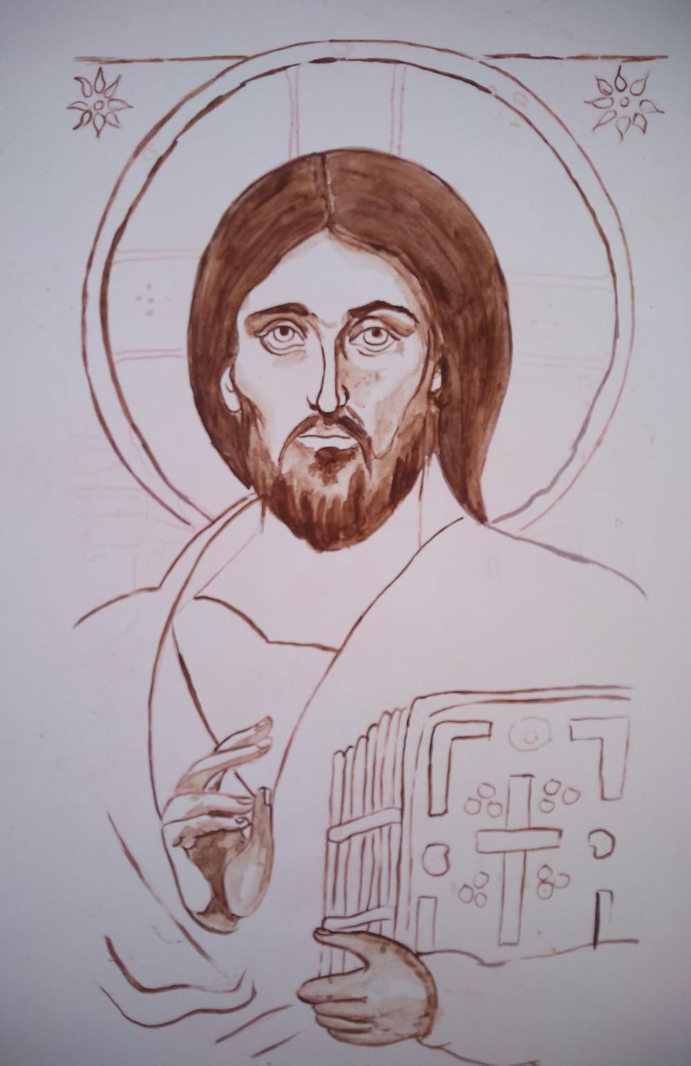 sketch of Christ holding Gospel book