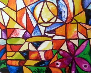 Stained glass stigmata flower