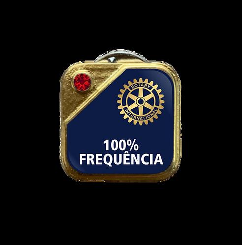 Distintivo Rotary 100% Frequência - Azul c/ Strass