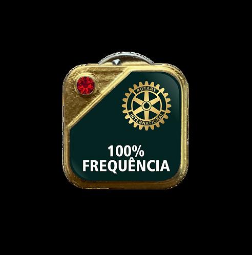 Distintivo Rotary 100% Frequência - Verde c/ Strass