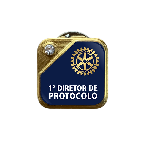 Distintivo Rotary 1º Dir. de Protocolo - Azul c/ Strass