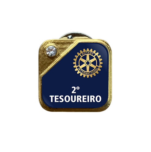 Distintivo Rotary 2º Tesoureiro - Azul c/ Strass