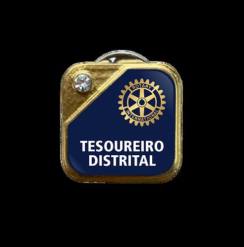 Distintivo Rotary Tesoureiro Distrital - Azul c/ Strass