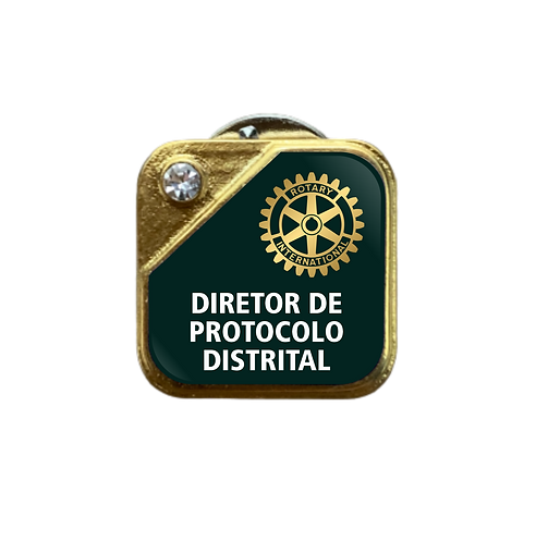 Distintivo Rotary Dir. de Protocolo Distrital - Verde c/ Strass