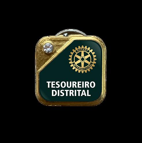 Distintivo Rotary Tesoureiro Distrital - Verde c/ Strass