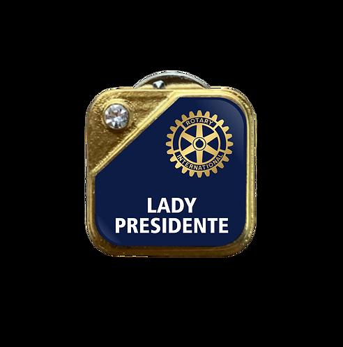 Distintivo Rotary Lady Presidente - Azul c/ Strass