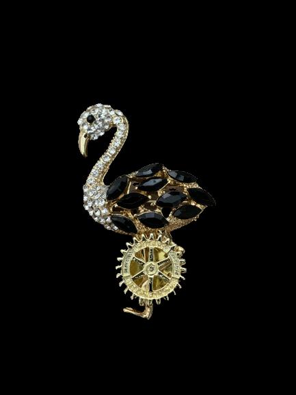 Broche Flamingo com Strass Preto