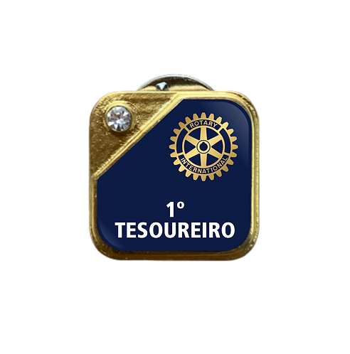 Distintivo Rotary 1º Tesoureiro - Azul c/ Strass