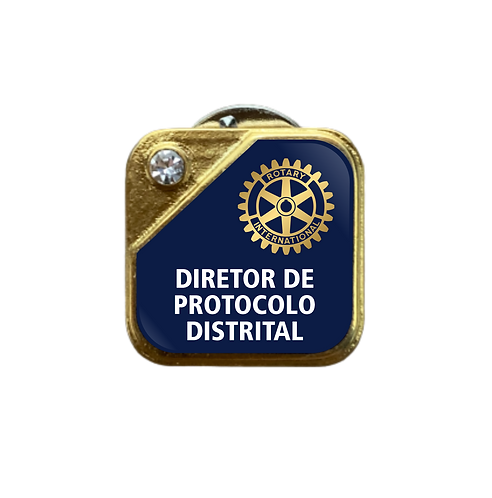 Distintivo Rotary Dir. de Protocolo Distrital - Azul c/ Strass