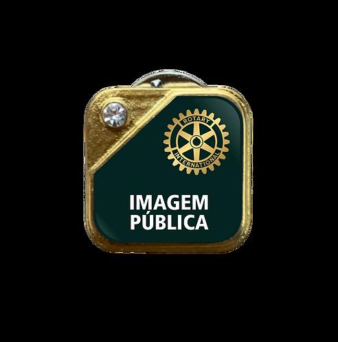 Distintivo Rotary Imagem Pública - Verde c/ Strass