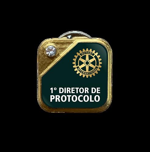 Distintivo Rotary 1º Dir. de Protocolo - Verde c/ Strass