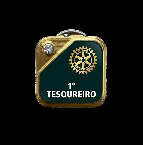 Distintivo Rotary 1º Tesoureiro - Verde c/ Strass