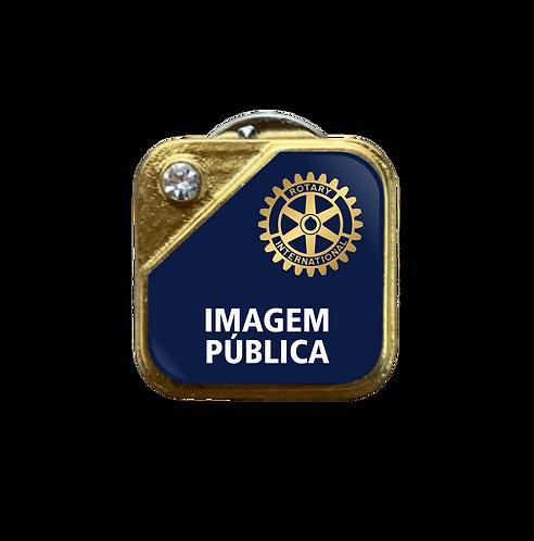 Distintivo Rotary Imagem Pública - Azul c/ Strass