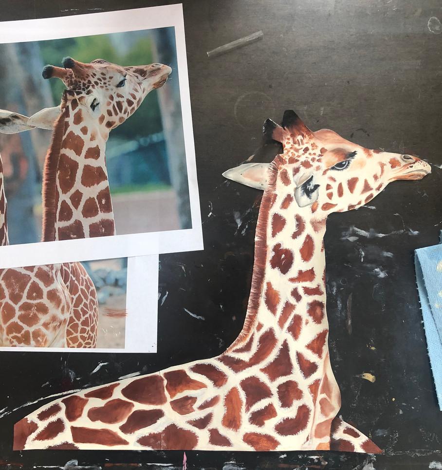 Oil Painted Giraffes