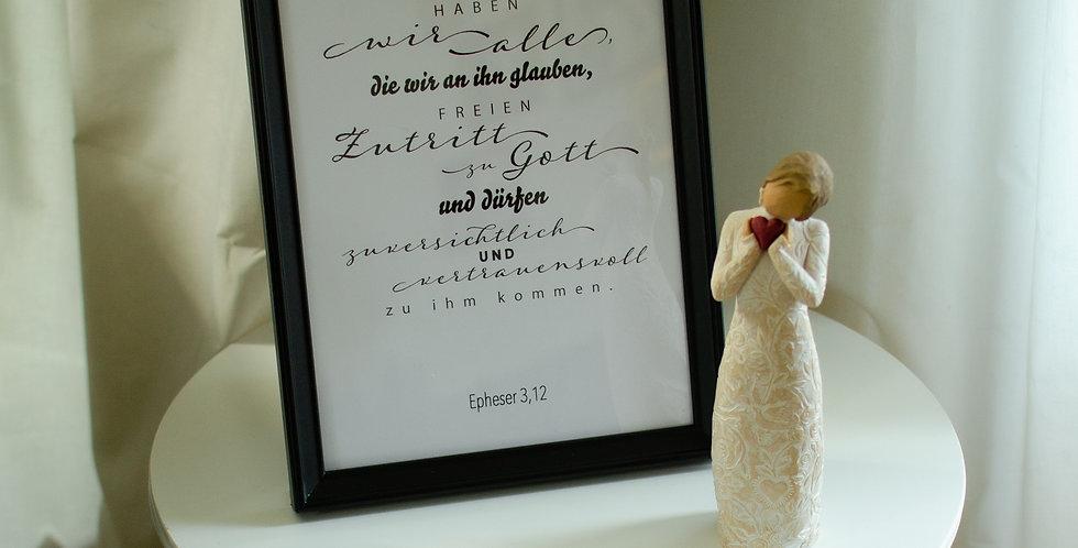 Epheser 3,12 on the wall