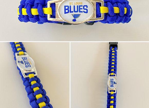 St. Louis Blues Paracord Bracelet Cobra Weave with metal clasp