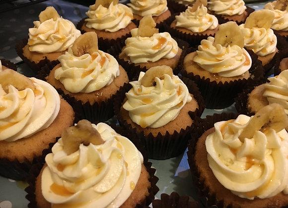 Peanut Butter & Banana Caramel Cupcakes