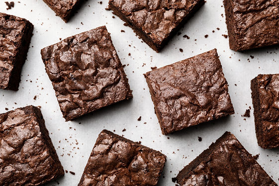 Flat lay composition with fresh brownies