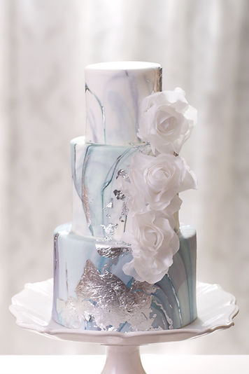 3 Tier Marble Wedding Cake With Wafer Ro