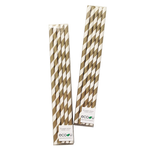 Striped Paper Straws (Gold)