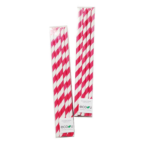 Striped Paper Straws (Red)