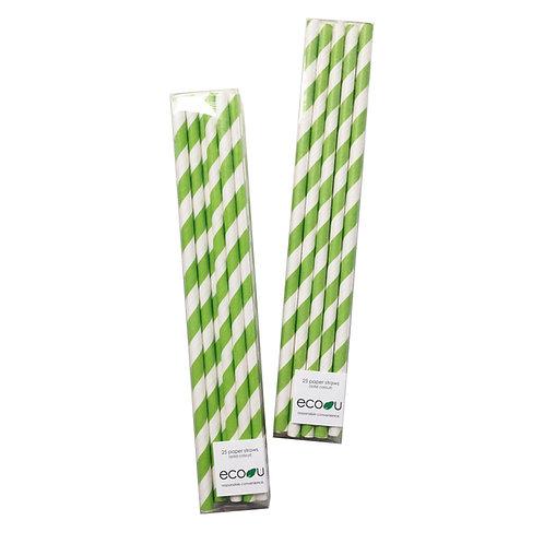 Striped Paper Straws (Green)