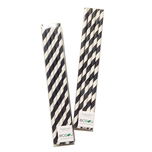 Striped Paper Straws (Black)